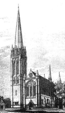 Original St Stephen's design featuring a spire and the Lychgate